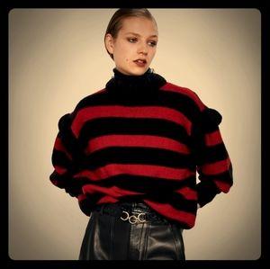 Zara oversized Sweater. Fun Ruffled Sleeve Details